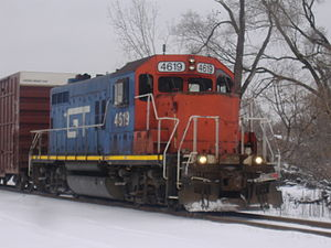 Grand Trunk Western Railroad - GTW locomotive 4619 heading south from Kalamazoo near Battle Creek is one of the GP9s the railroad rebuilt and designated GP9R.