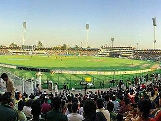 Gaddafi Stadium cricket ground in Lahore, Punjab, Pakistan, designed by Nasreddin Murat-Khan, constructed by Mian Abdul Khaliq and Company in 1959, named after Muammar Gaddafi