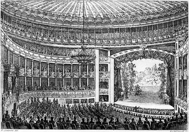 Зрительный зал Большого театра. 1820-е гг. Гравюра С.Ф.Галактионова с рисунка П.П.Свиньина.