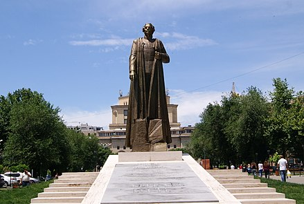The monumental statue of the Armenian nationalist figure Garegin Nzhdeh at central Yerevan