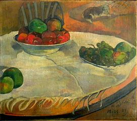 Fruit on a Table with a Small Dog