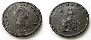 History of the halfpenny - 1807 halfpenny struck at the Soho Mint