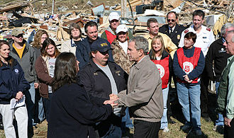 2008 Super Tuesday tornado outbreak - US President George W. Bush touring tornado-ravaged Middle Tennessee areas on February 8, 2008
