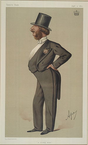"George Barrington, 7th Viscount Barrington - ""a young man"". Caricature by Ape published in Vanity Fair in 1875."