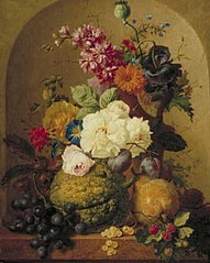 Still Life with Fruit and Flowers in a Niche