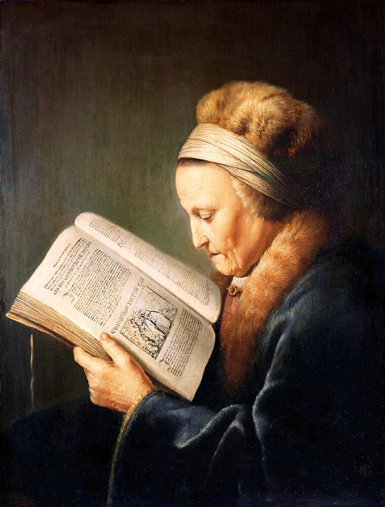 Gerard Dou - Portret van een lezende oude vrouw