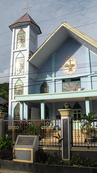 "Christianity in Indonesia - Dutch reformed church ""Gereja Masehi Injil di Timor"" in Labuan Bajo, Nusa Tenggara Timur"
