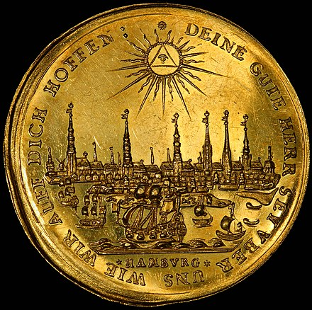 Hamburg depicted on a 1679 Half-portugaloser (5 ducats) Germany-Hamburg-1679-Half Bankportugaloser-5 ducats (cropped).jpg
