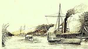 Jambi uprising - Image: Gevecht van de Sampit en de gewapende sloep tot herovering van de kruisboot 12. Tekening WJ Cohen Stuart, luitenant ter zee