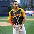 Giancarlo Stanton holds up the T-Mobile -HRDerby trophy. (28476385401).jpg