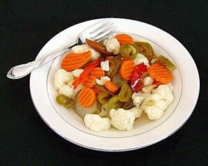 Giardiniera - A dish of giardiniera.