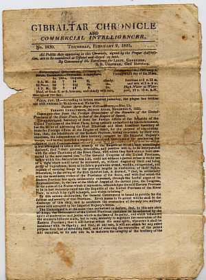 Gibraltar Chronicle - The Gibraltar Chronicle dated 2 February 1826