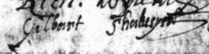 Gilbert Shakespeare - Gilbert Shakespeare's signature witnessing a deed dated 5 March 1610.