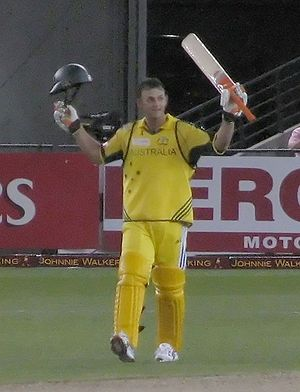 Adam Gilchrist - Celebrating a century against the World XI in the second ICC Super Series match at Telstra Dome (7 October 2005).
