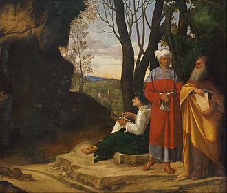 Gallery of Archduke Leopold Wilhelm in Brussels (Schleissheim) - Image: Giorgione Three Philosophers Google Art Project