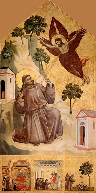 Saint Francis Receiving the Stigmata (Giotto) - Image: Giotto. Stigmatization of St Francis. 1295 1300. 314x 162cm. Louvre, Paris