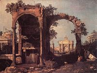 Giovanni Antonio Canal, il Canaletto - Capriccio - Ruins and Classic Buildings - WGA03900.jpg