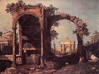 Giovanni Antonio Canal, il Canaletto - Capriccio - Ruins and Classic Buildings - WGA03900.jpg