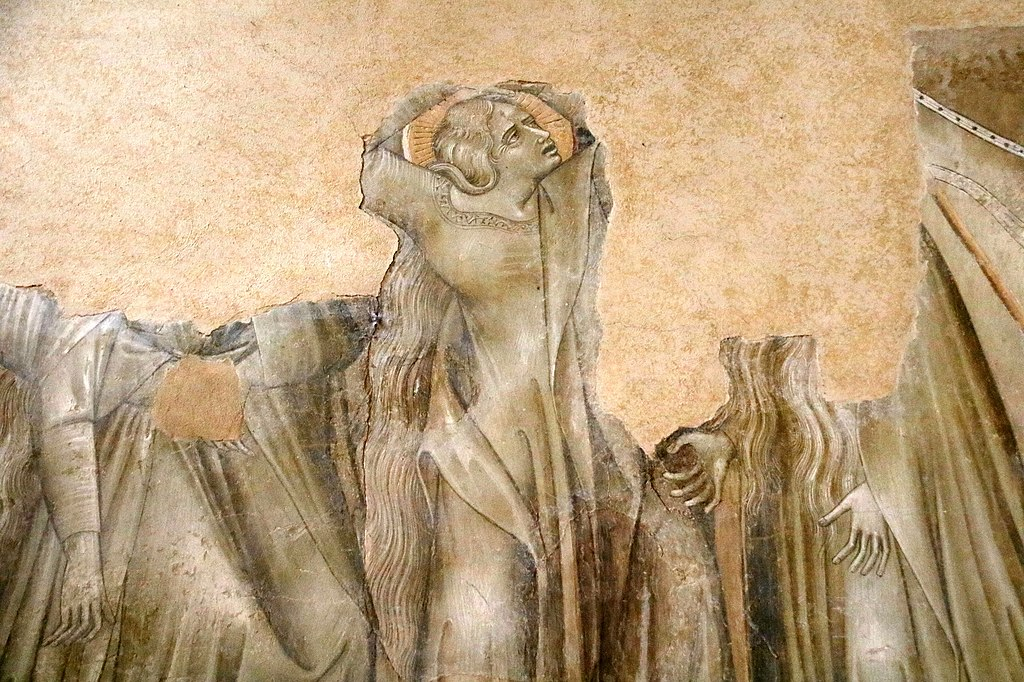 Giovanni di Paolo, Crocifissione (dettaglio), affresco, L' eremo di San Leonardo al Lago, Siena