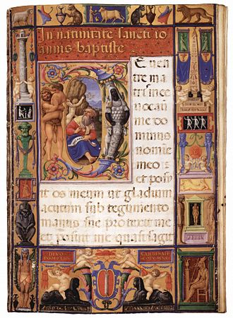 Giulio Clovio - An illuminated page from his Colonna missal', 1530s, John Rylands Library, Manchester.