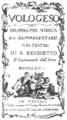 Giuseppe Sarti - Vologeso - titlepage of the libretto - Venice 1765.png