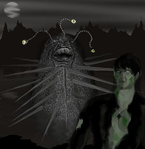 "Ramsey Campbell - An image of Gla'aki and one of its minions, derived from Campbell's story ""The Inhabitant of the Lake""."