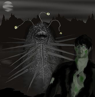 """Ramsey Campbell - An image of Gla'aki and one of its minions, derived from Campbell's story """"The Inhabitant of the Lake""""."""