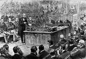 Irish Home Rule movement - Gladstone at a debate on the Irish Home Rule Bill, 8 April 1886