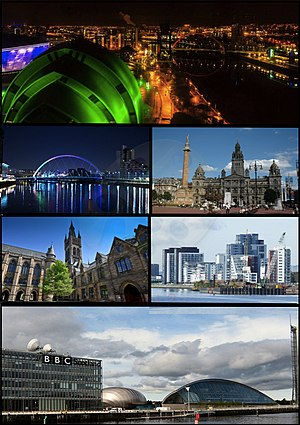 Glasgow - Clockwise from top-left: A view of Glasgow at night overlooking the city centre and River Clyde: Clyde Arc bridge crossing the River Clyde: George Square with Glasgow City Chambers in the background: The main building of the University of Glasgow: Skyline of Glasgow Harbour: Pacific Quay area, home of BBC Scotland and the Glasgow Science Centre