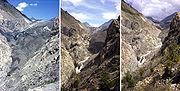 Der Große Aletschgletscher 1979 (links), 1991 (Mitte) und 2002 (rechts)
