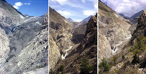 The retreat of Aletsch Glacier in the Swiss Alps (situation in 1979, 1991 and 2002), due to global warming. Gletscherschmelze.jpg