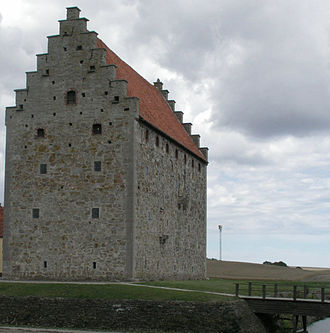 Crow-stepped gable -  The crow-stepped gables of Glimmingehus, Scania, Scandinavia's best-preserved medieval manor, built in 1499 by a Danish knight.