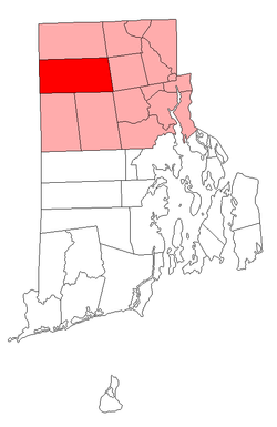 Location of Glocester in Providence County, Rhode Island