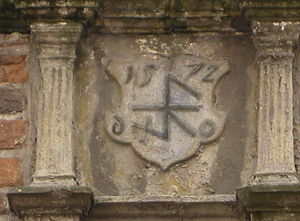 House mark - German house mark on a house front from 1572 with variation of the shape double hook.
