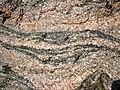 Gneiss (Archean; Windy Lake Northwest roadcut, Sudbury Impact Structure, Ontario, Canada) 6 (32792413047).jpg
