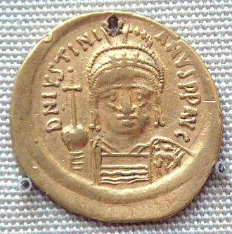 Gold coin of Justinian I (527-565) excavated in India probably in the south, an example of Indo-Roman trade during the period Gold coin of Justinian I 527CE 565CE excavated in India probably in the south.jpg