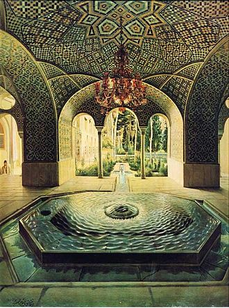Golestan Palace - The Pond House, painted by Kamal ol Molk.
