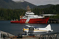 Gordon Reid and seaplane moored at Prince Rupert.jpg