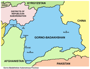 Gorno-Badakhshan Autonomous Region - Map of the Gorno-Badakhshan Autonomous Region