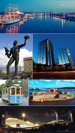 From left to right: First row: Göta älv with Barken Viking to the left. Second row: The Göteborg Opera and Gunnebo House. Third row: Poseidon at Götaplatsen and Gothia Towers including Svenska Mässan. 4th row: Gothenburg heritage tram and Elfsborg Fortress. 5th row: Ullevi stadium.