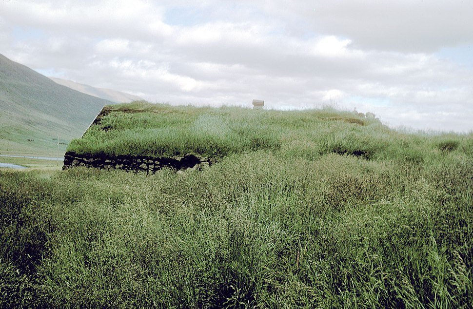 Grass covered house in Iceland 1972