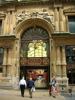 Covered Victorian shopping arcade in Birmingham, England
