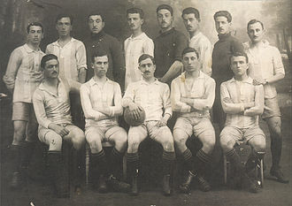 Giorgos Kalafatis - The Greek national team for the Inter-Allied Games in Paris, 1919. Kalafatis is seated, second from right.