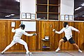Greek Epee Fencers. Evening training at Athenaikos Fencing Club. On the right Aris Koutsouflakis.jpg