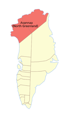 Avannaa - Map of North Greenland.