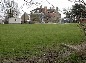 Grendon Hall. View east from footpath. Sports ...