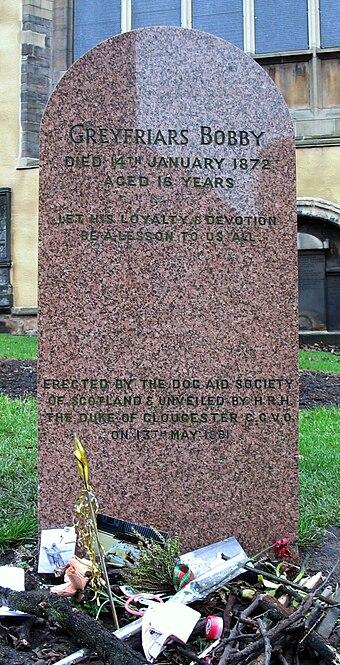 Bobby's headstone in Greyfriars Kirkyard