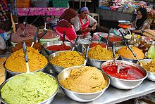 Different types of Thai curry pastes for sale at a market in Hat Yai, in southern Thailand