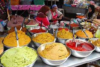 Thai curry - Different types of Thai curry pastes for sale at a market in Hat Yai, in southern Thailand