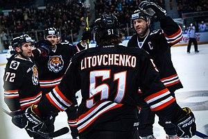Niclas Bergfors - Image: HC Amur Khabarovsk hockey players 2016 01 29